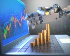 3D image concept of software (Robot Trading System) used in the stock market that automatically submits trades to an exchange without any human interventions. A robot hand counting money in graph form on the rise. Depth of field with focus on the gold coin on the fingers.