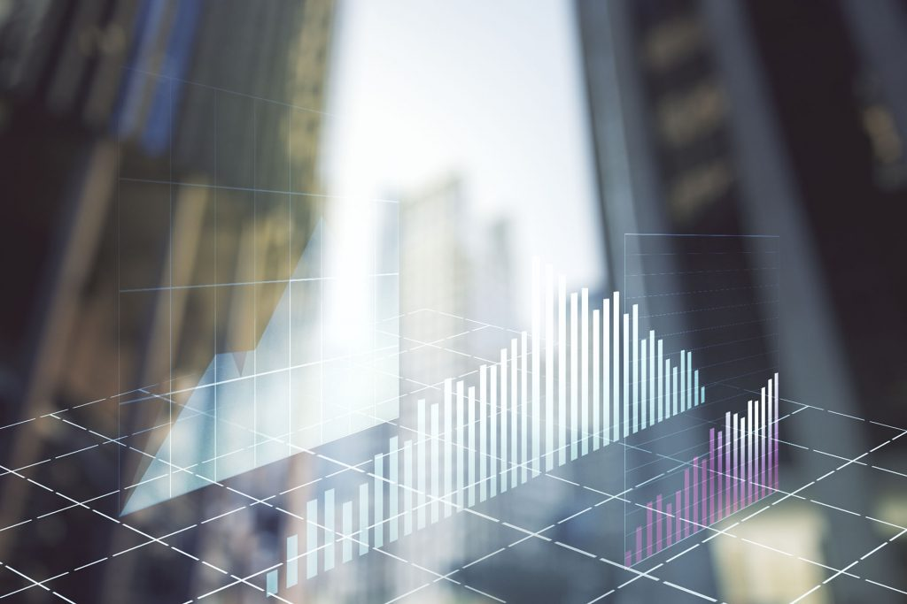 Multi exposure of abstract financial graph on office buildings background, financial and trading concept